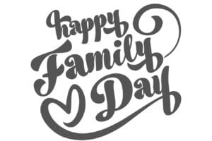 Happy Family Day. Vector illustration with Happy Family day black cartoon calligraphy inscription on white background.